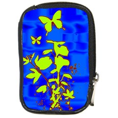 Butterfly blue/green Compact Camera Leather Case