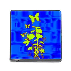 Butterfly Blue/green Memory Card Reader With Storage (square)
