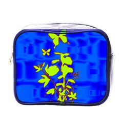 Butterfly blue/green Mini Travel Toiletry Bag (One Side)
