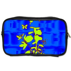 Butterfly Blue/green Travel Toiletry Bag (two Sides)