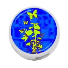 Butterfly blue/green 4-Port USB Hub (One Side)