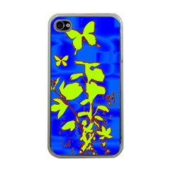 Butterfly blue/green Apple iPhone 4 Case (Clear)