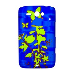 Butterfly blue/green HTC ChaCha / HTC Status Hardshell Case