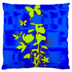 Butterfly blue/green Large Cushion Case (Single Sided)