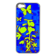 Butterfly blue/green Apple iPhone 5 Case (Silver)