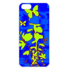 Butterfly blue/green Apple iPhone 5 Seamless Case (White)