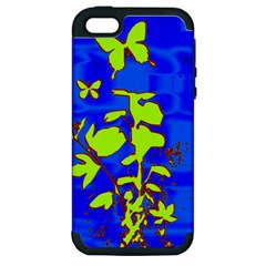 Butterfly blue/green Apple iPhone 5 Hardshell Case (PC+Silicone)