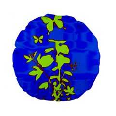 Butterfly blue/green 15  Premium Round Cushion