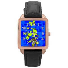 Butterfly Blue/green Rose Gold Leather Watch