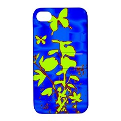 Butterfly Blue/green Apple Iphone 4/4s Hardshell Case With Stand