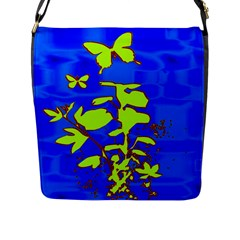 Butterfly blue/green Flap Closure Messenger Bag (Large)