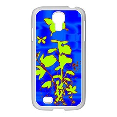 Butterfly blue/green Samsung GALAXY S4 I9500/ I9505 Case (White)