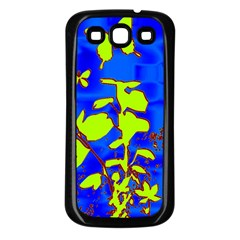 Butterfly blue/green Samsung Galaxy S3 Back Case (Black)