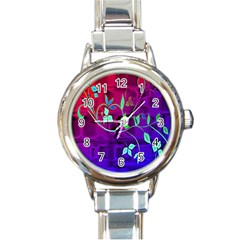Floral Colorful Round Italian Charm Watch