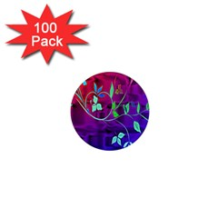 Floral Colorful 1  Mini Button Magnet (100 pack)
