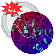 Floral Colorful 3  Button (100 Pack)