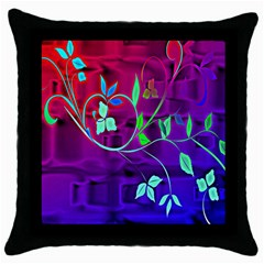 Floral Colorful Black Throw Pillow Case
