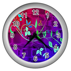 Floral Colorful Wall Clock (Silver)