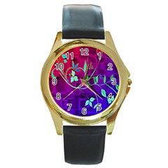 Floral Colorful Round Leather Watch (Gold Rim)