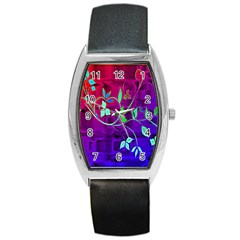 Floral Colorful Tonneau Leather Watch