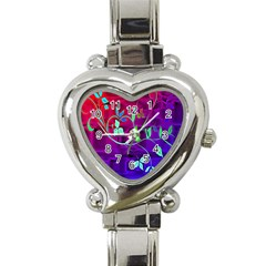 Floral Colorful Heart Italian Charm Watch