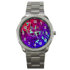 Floral Colorful Sport Metal Watch