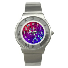 Floral Colorful Stainless Steel Watch (Slim)