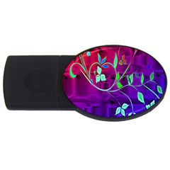 Floral Colorful 4gb Usb Flash Drive (oval)