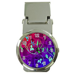 Floral Colorful Money Clip with Watch