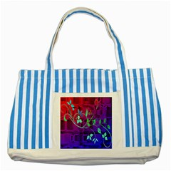 Floral Colorful Blue Striped Tote Bag