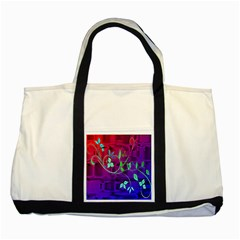 Floral Colorful Two Toned Tote Bag