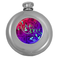 Floral Colorful Hip Flask (round)
