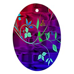 Floral Colorful Oval Ornament (two Sides)