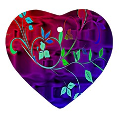 Floral Colorful Heart Ornament (Two Sides)