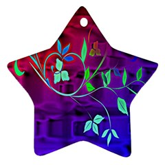 Floral Colorful Star Ornament (two Sides)