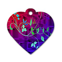 Floral Colorful Dog Tag Heart (One Sided)