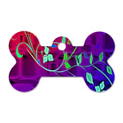 Floral Colorful Dog Tag Bone (One Sided)