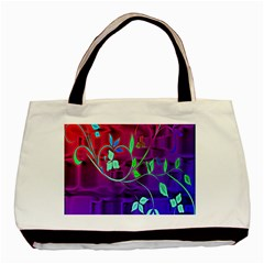 Floral Colorful Twin-sided Black Tote Bag
