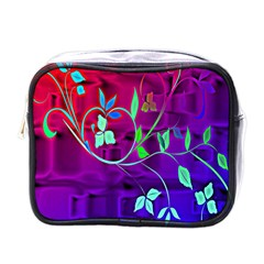Floral Colorful Mini Travel Toiletry Bag (one Side)
