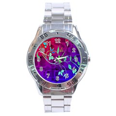 Floral Colorful Stainless Steel Watch