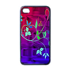 Floral Colorful Apple iPhone 4 Case (Black)