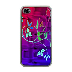 Floral Colorful Apple Iphone 4 Case (clear)