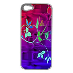 Floral Colorful Apple iPhone 5 Case (Silver)