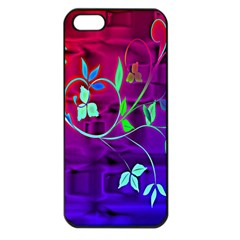 Floral Colorful Apple Iphone 5 Seamless Case (black)
