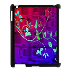 Floral Colorful Apple iPad 3/4 Case (Black)
