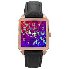 Floral Colorful Rose Gold Leather Watch