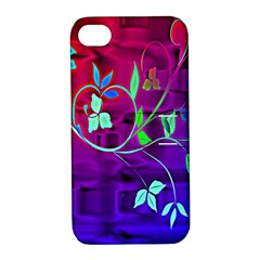 Floral Colorful Apple iPhone 4/4S Hardshell Case with Stand