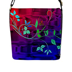 Floral Colorful Flap Closure Messenger Bag (Large)