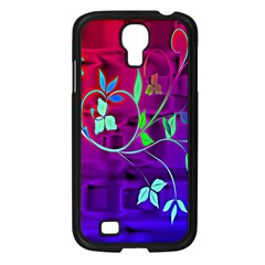 Floral Colorful Samsung Galaxy S4 I9500/ I9505 Case (Black)