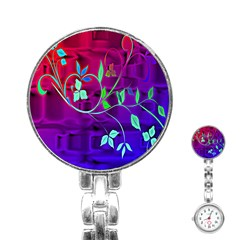 Floral Colorful Stainless Steel Nurses Watch